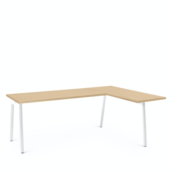 Series A Corner Desk, Natural Oak with White Base, Right Handed,Natural Oak,hi-res