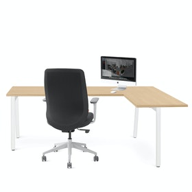 Series A Corner Desk, Natural Oak with White Base, Right Handed