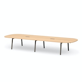 """Series A Scale Racetrack Conference Table, Natural Oak 180x60"""", Charcoal Legs"""