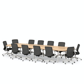 """Series A Scale Racetrack Conference Table, Natural Oak 180x60"""", White Legs"""