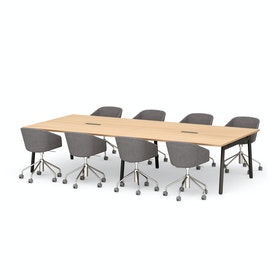 "Series A Scale Rectangular Conference Table, Natural Oak 132x60"", Charcoal Legs"