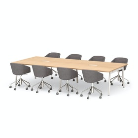 "Series A Scale Rectangular Conference Table, Natural Oak 132x60"", White Legs"