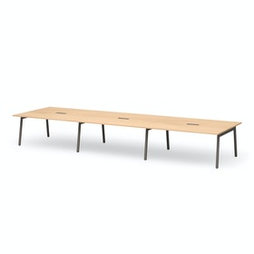 "Series A Scale Rectangular Conference Table, Natural Oak 198x60"", Charcoal Legs"