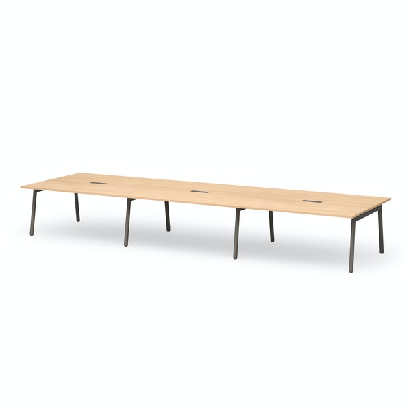 "Series A Scale Rectangular Conference Table, Natural Oak 198x60"", Charcoal Legs,Natural Oak,hi-res"