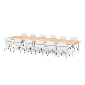 "Series A Scale Rectangular Conference Table, Natural Oak 198x60"", White Legs"