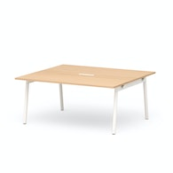 "Series A Scale Rectangular Conference Table, Natural Oak 66x60"", White Legs,Natural Oak,hi-res"