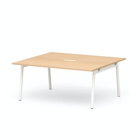 "Series A Scale Rectangular Conference Table, Natural Oak 66x60"", White Legs"