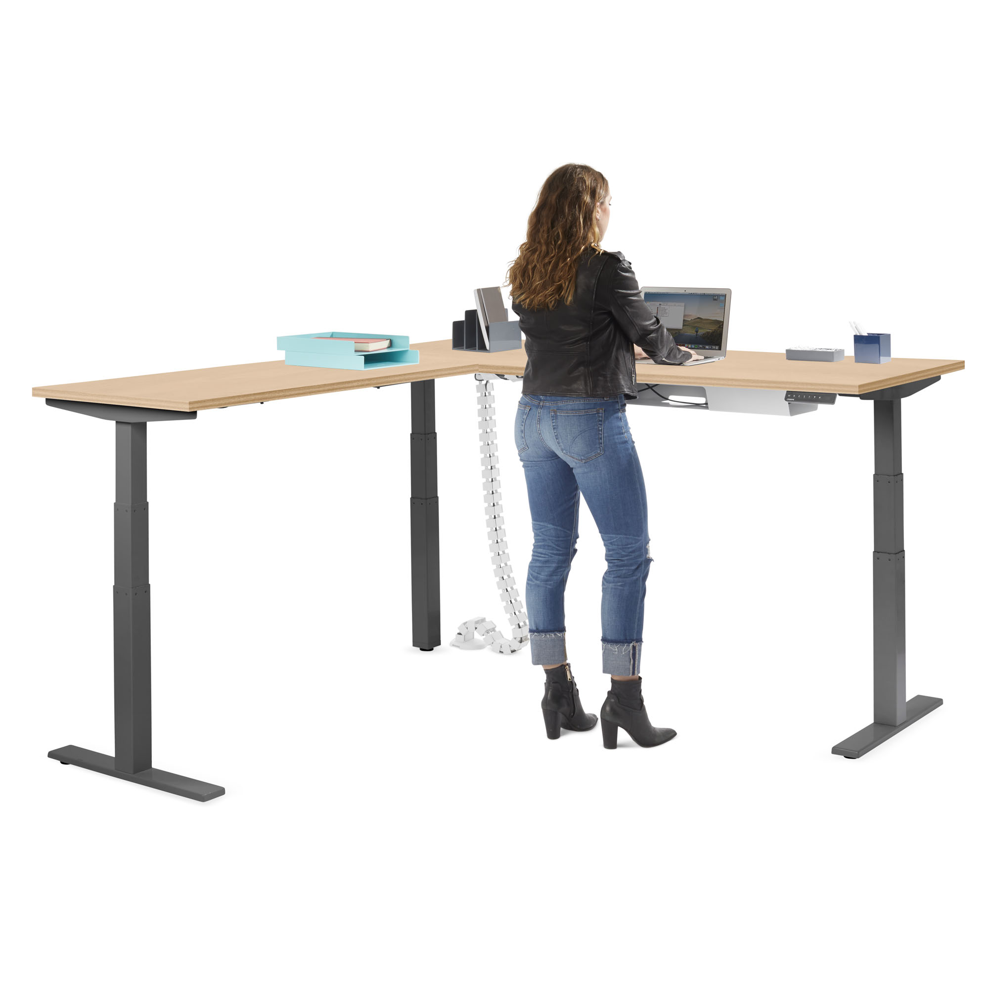 - Series L Adjustable Height Corner Desk With Charcoal Legs, Left Handed