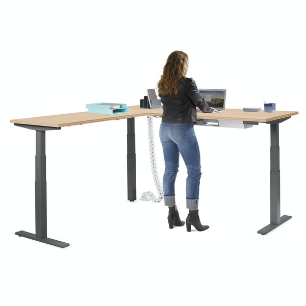 Series L Adjustable Height Corner Desk, Natural Oak with Charcoal Base, Left Handed,Natural Oak,hi-res