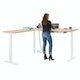 Series L  Adjustable Height Corner Desk, Natural Oak with White Base, Left Handed,Natural Oak,hi-res