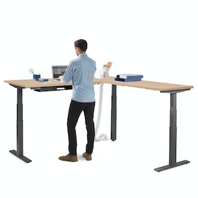 Series L Adjustable Height Corner Desk with Charcoal Legs, Right Handed