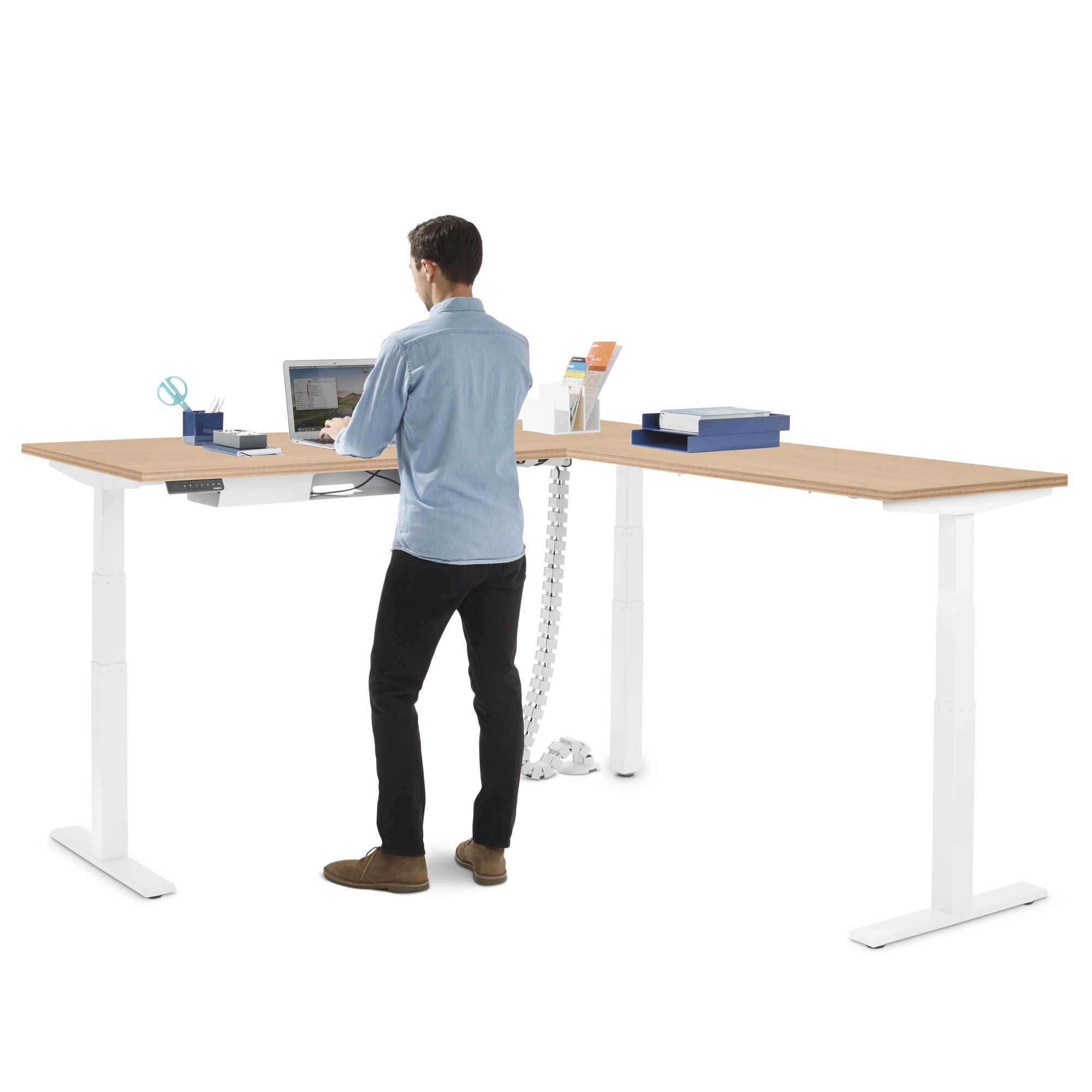 Series L Adjustable Height Corner Desk With White Legs Right Handed Poppin