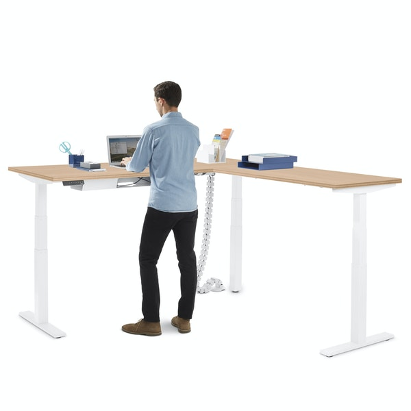 Series L  Adjustable Height Corner Desk, Natural Oak with White Base, Right Handed,Natural Oak,hi-res