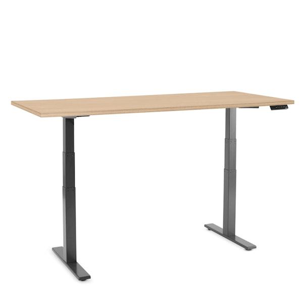 """Series L Adjustable Height Table, Natural Oak, 72x30"""", Charcoal Legs,Natural Oak,hi-res"""