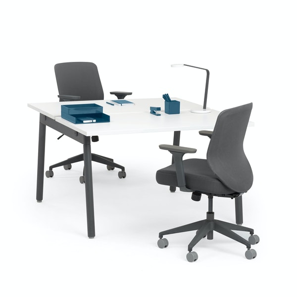 """Series A Double Desk for 2, White, 47"""", Charcoal Legs,White,hi-res"""
