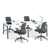 "Series A Double Desk for 4, White, 47"", Charcoal Legs,White,hi-res"