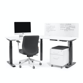Series L Adjustable Height 120 Degree Desk, White, Charcoal Legs