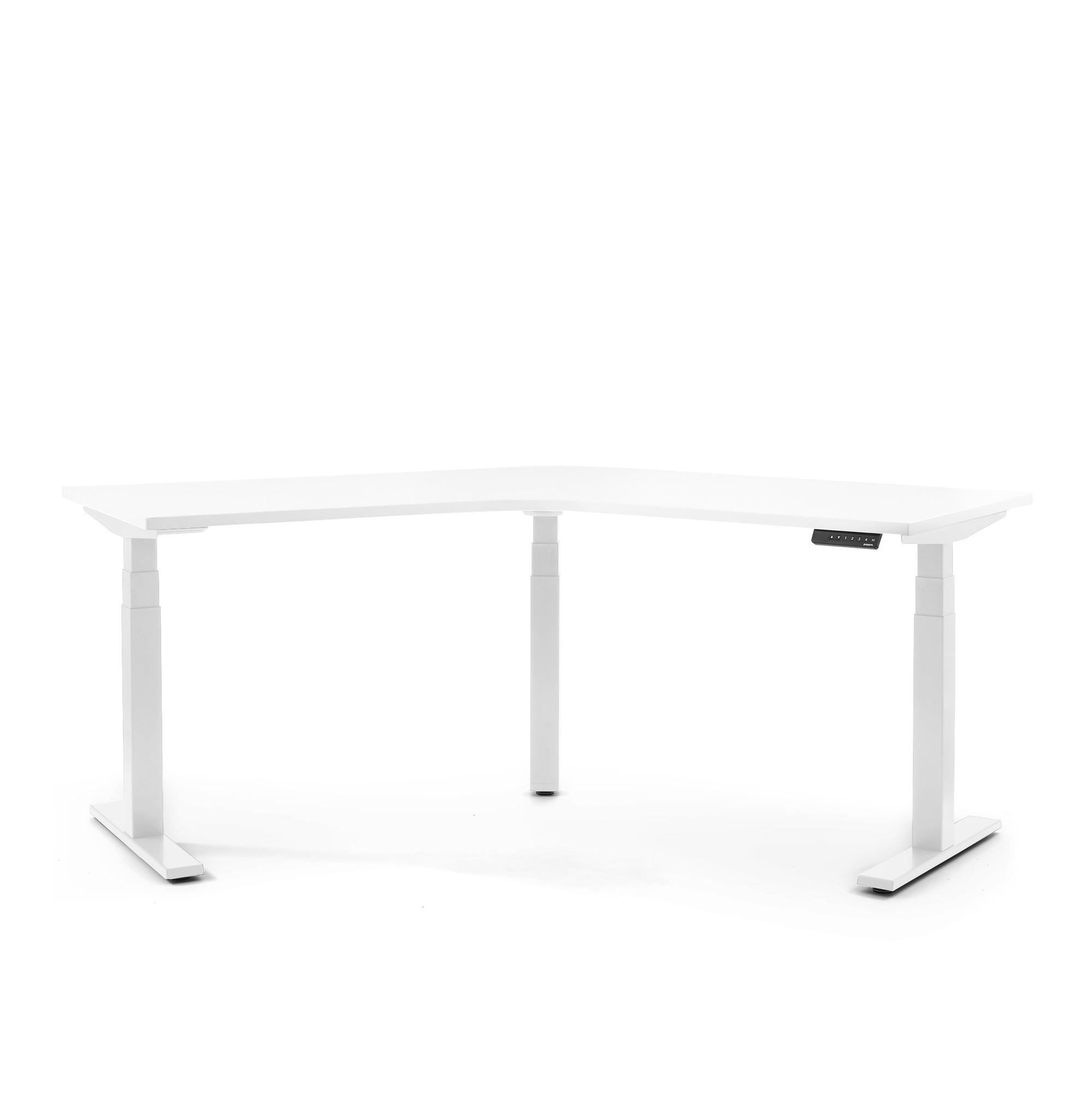 Series L Adjustable Height 120 Degree Desk White White Legs