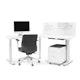 Series L Adjustable Height 120 Degree Desk, White, White Legs,,hi-res