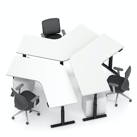Series L Adjustable Height 120 Degree Desk for 3 + Boom Power Rail, White, Charcoal Legs