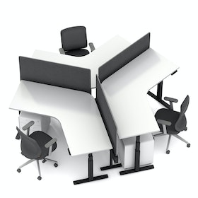 Series L Adjustable Height 120 Degree Desk for 3 + Boom Power Rail, White, Charcoal Legs,,hi-res