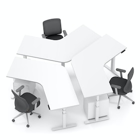 Series L Adjustable Height 120 Degree Desk for 3 + Boom Power Rail, White, White Legs