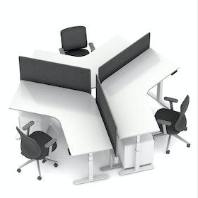 Series L Adjustable Height 120 Degree Desk for 3 + Boom Power Rail, White, White Legs