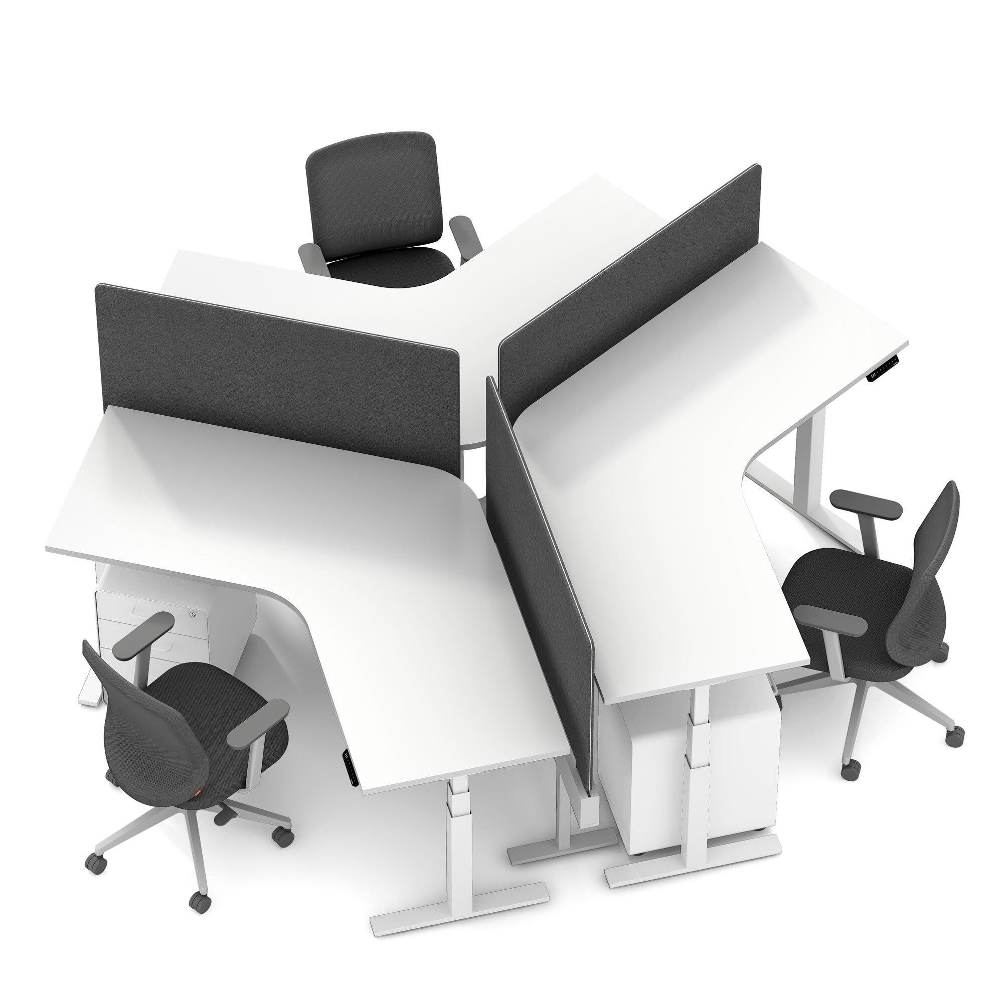 Series L Adjustable Height 120 Degree Desk For 3 Boom Power Rail White White Legs