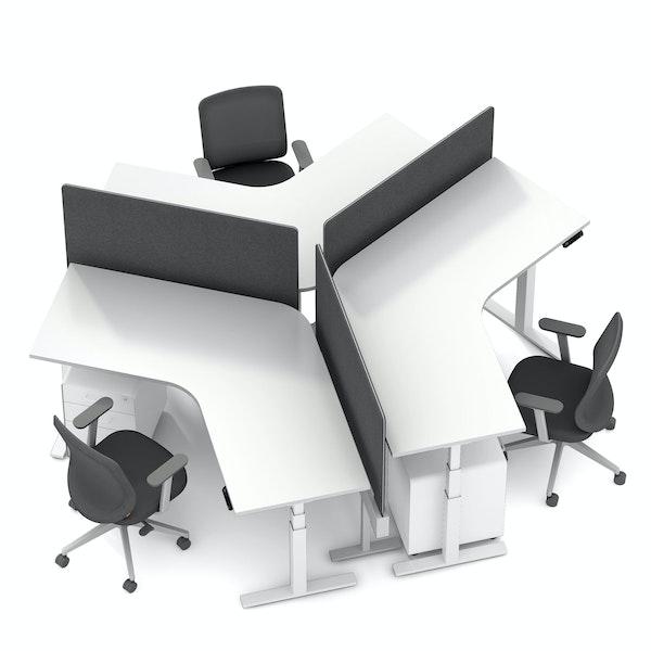 Series L Adjustable Height 120 Degree Desk for 3 + Boom Power Rail, White, White Legs,,hi-res