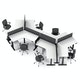 Series L Adjustable Height 120 Degree Desk for 6 + Boom Power Rail, White, Charcoal Legs,,hi-res