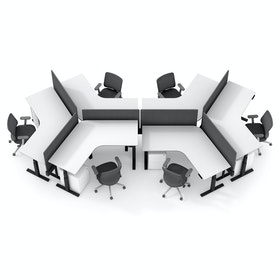 Series L Adjustable Height 120 Degree Desk for 6 + Boom Power Rail, White, Charcoal Legs