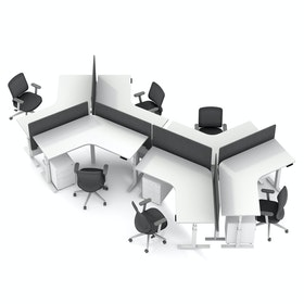Series L Adjustable Height 120 Degree Desk for 6 + Boom Power Rail, White, White Legs