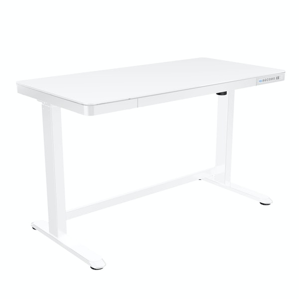 White Home Office Adjustable Height Desk,White,hi-res