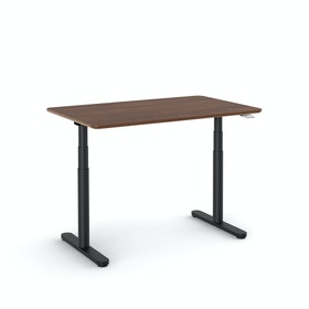 "Raise Adjustable Height Single Desk, Walnut, 48"", Black Legs"