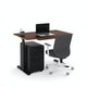 "Raise Adjustable Height Single Desk, Walnut, 48"", Black Legs,Walnut,hi-res"