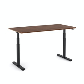 "Raise Adjustable Height Single Desk, Walnut, 60"", Black Legs"