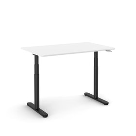"Raise Adjustable Height Single Desk, White, 48"", Black Legs"