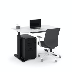 "Raise Adjustable Height Single Desk, White, 48"", Black Legs,White,hi-res"