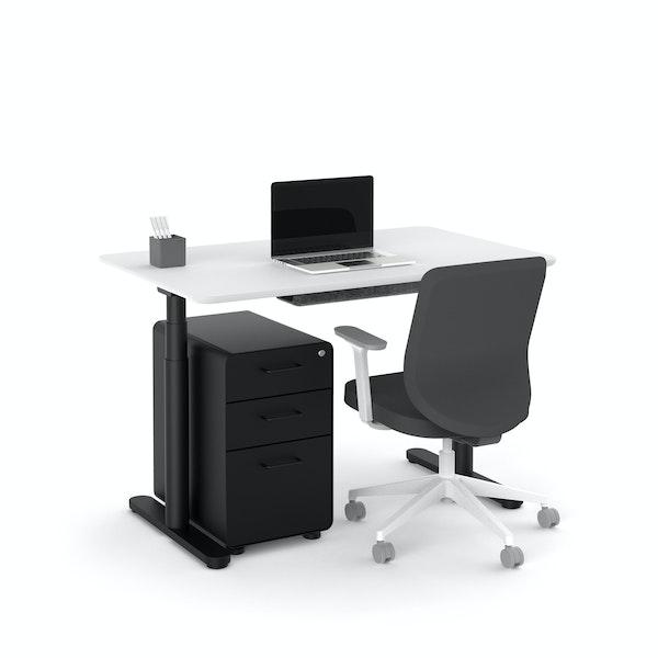 """Raise Adjustable Height Single Desk, White, 48"""", Black Legs,White,hi-res"""