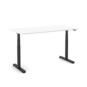 "Raise Adjustable Height Single Desk, White, 60"", Black Legs"