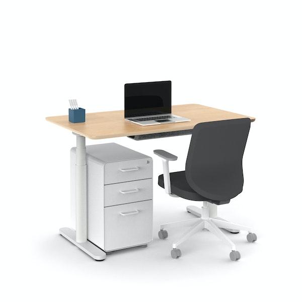 "Raise Adjustable Height Single Desk, Natural Oak, 48"", White Legs,Natural Oak,hi-res"
