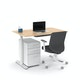 "Raise Adjustable Height Single Desk, Natural Oak, 48"", White Legs,Natural Oak,hi-res"