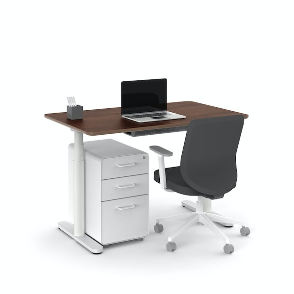 "Raise Adjustable Height Single Desk, Walnut, 48"", White Legs,Walnut,hi-res"