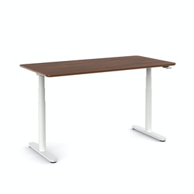 Raise Adjustable Height Single Desk, White Legs