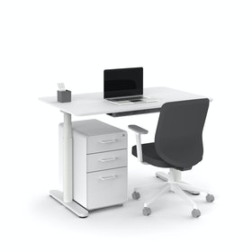 "Raise Adjustable Height Single Desk, White, 48"", White Legs,White,hi-res"