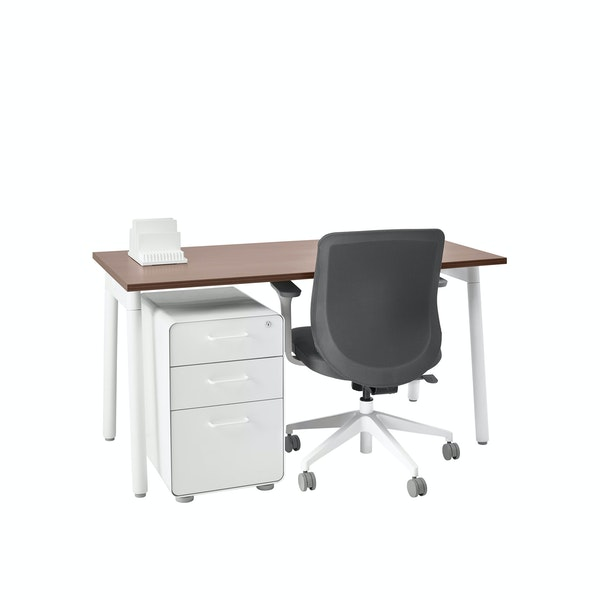 "Series A Single Desk for 1, Walnut, 57"", White Legs,Walnut,hi-res"