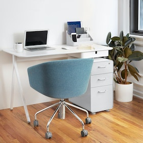 "White Key Desk, 48"",White,hi-res"