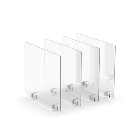 """Clear Protective Acrylic Shields, Set of 4, 27 x 23.5"""", Edge Clips"""