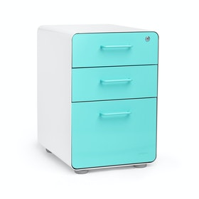 White + Aqua Stow 3-Drawer File Cabinet