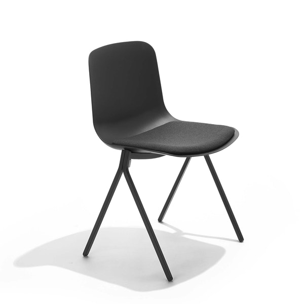Black Key Side Chair with Charcoal Seat Pad,Black,hi-res